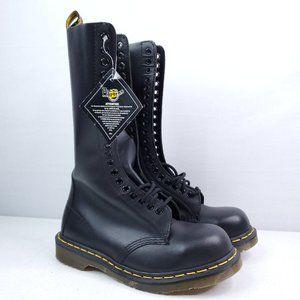 """Dr. Martens 20 Eyelet 12"""" Black Leather Boots US 7"""